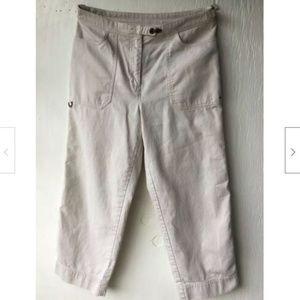 Women's Ivory Capris Cropped Pockets Adjustable 6P